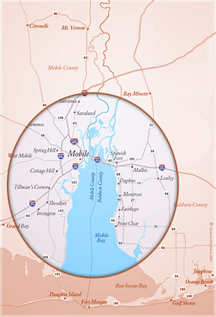 Map of our Mobile, Daphne-Fairhope-Foley service area